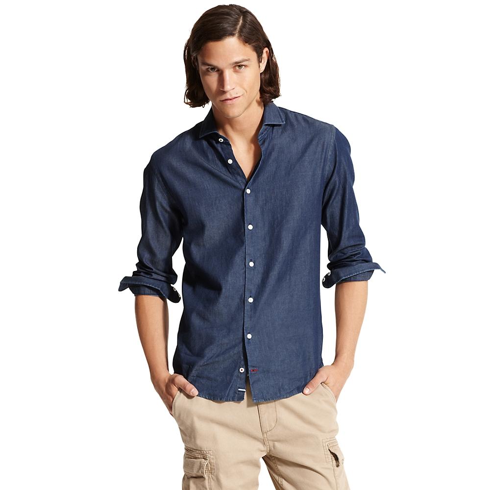 tommy hilfiger new york fit shirt in blue for men indigo. Black Bedroom Furniture Sets. Home Design Ideas