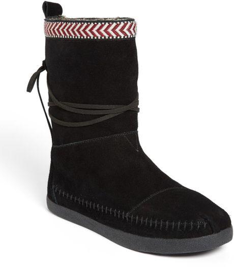 toms nepal boot in black black suede lyst