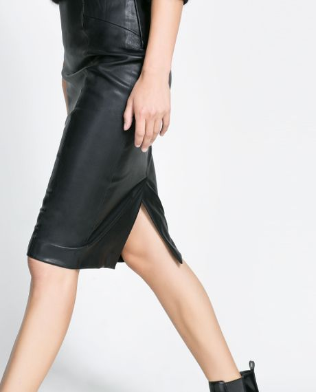 zara synthetic leather pencil skirt in black lyst