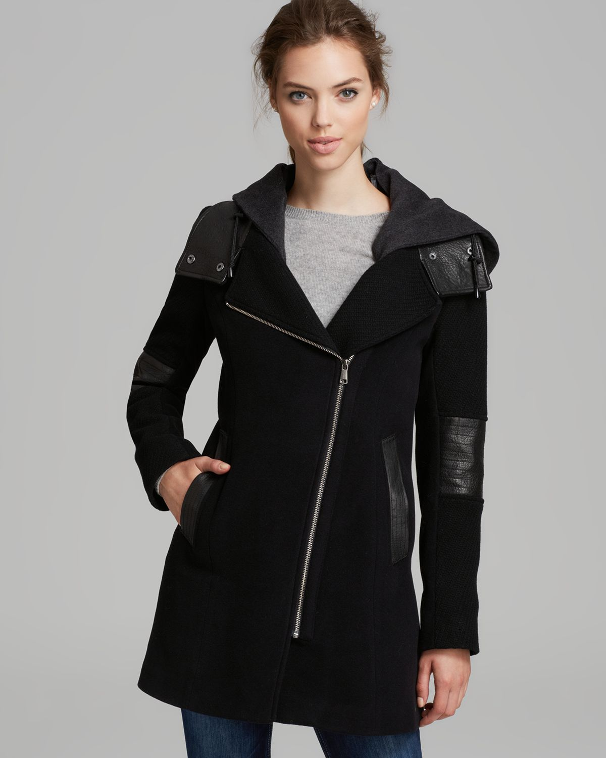 Andrew marc Coat Asymmetric Zip Leather Trim in Black | Lyst