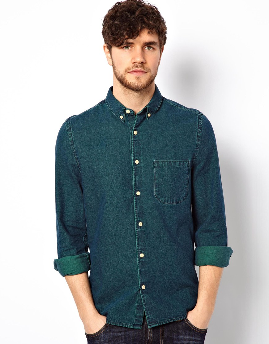 Green denim shirt mens is shirt for Custom acid wash t shirts