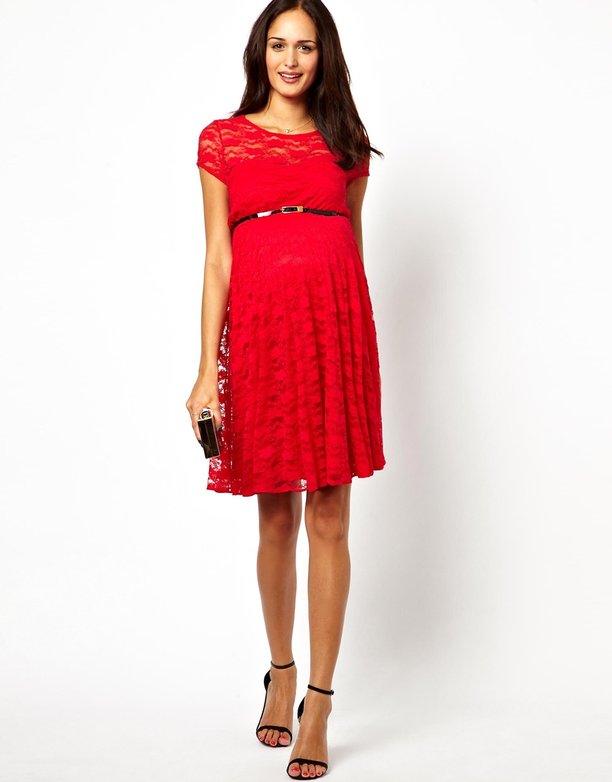 asos lace skater dress with belt in lyst