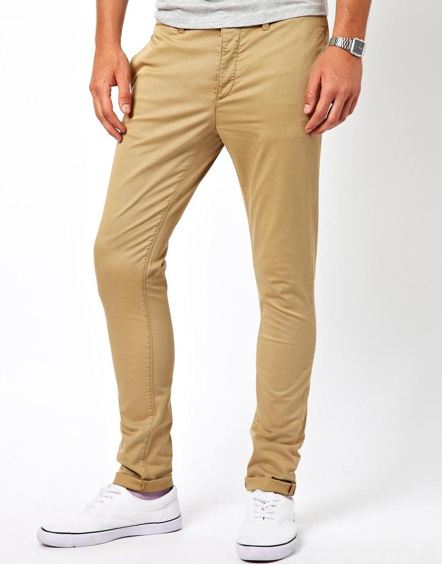 Lyst Asos Asos Super Skinny Chino In Brown For Men