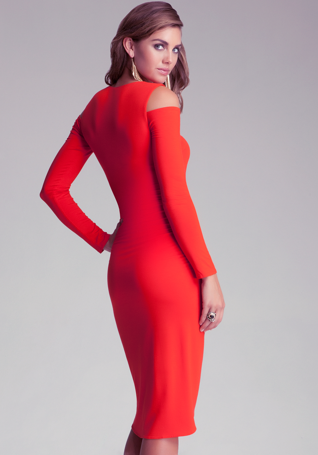 Dress: Bebe Emma Cold Shoulder Wrap Dress In Red