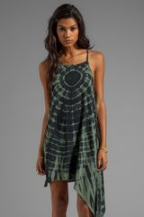 Blu Moon Asymmetrical Light Low Dress in Green - Lyst