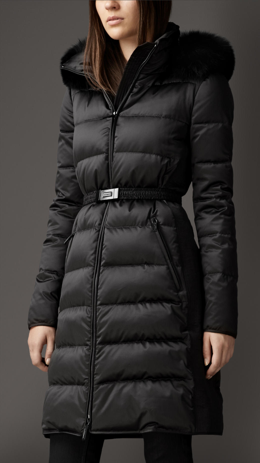 Lyst Burberry Fur Trim Technical Satin Puffer Coat In Black