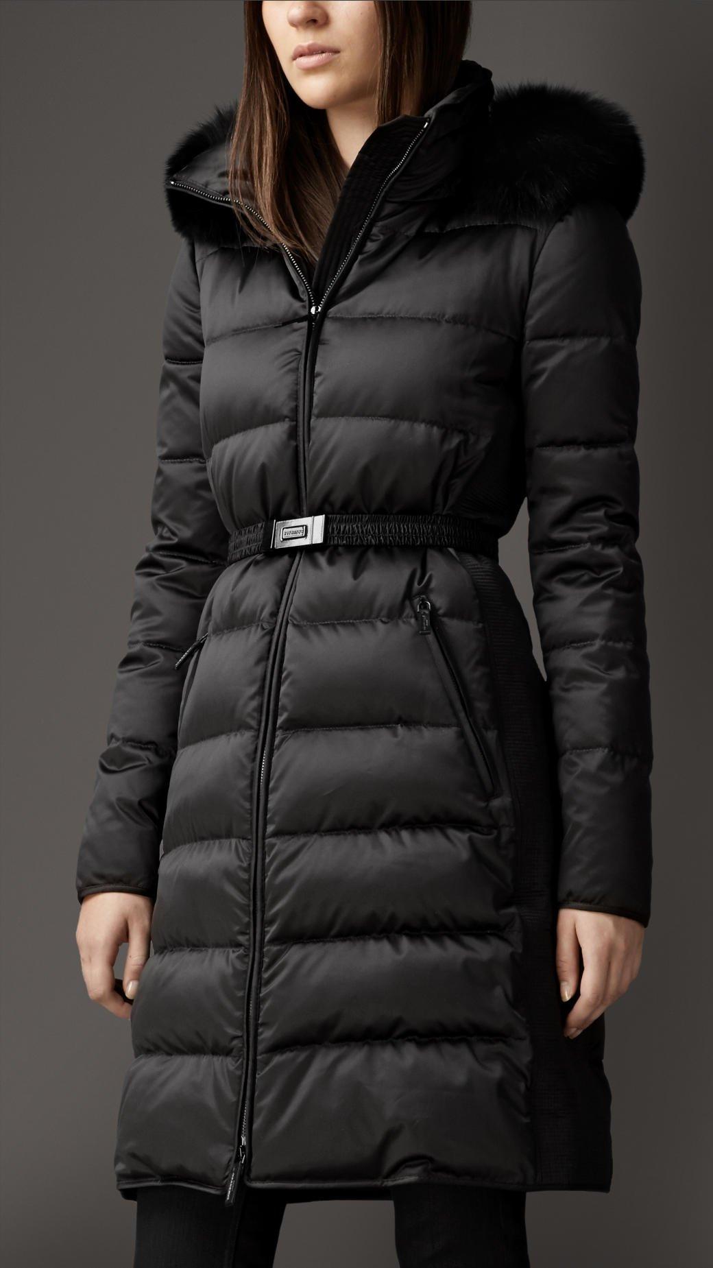 Burberry Fur Trim Technical Satin Puffer Coat In Black Lyst