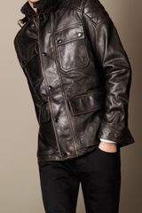 Burberry Leather Biker Field Jacket - Lyst