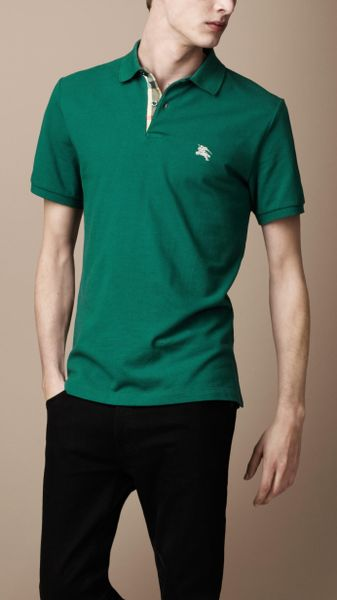 Burberry check placket polo shirt in green for men forest for Forest green polo shirts