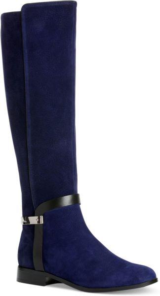 Calvin Klein Randa Riding Boots In Blue Blue Suede Lyst