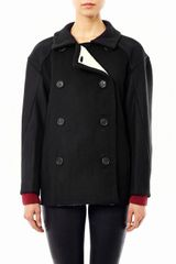 Derek Lam Fleece Lined Wool Peacoat - Lyst