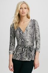 Diane Von Furstenberg New Jill Pythonprint Wrap Top - Lyst