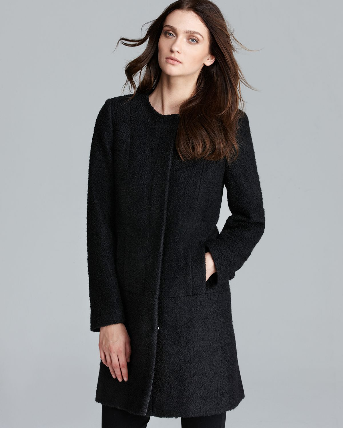Dkny Coat Boucle Collarless A Line in Black | Lyst