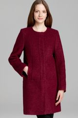 DKNY Coat Boucle Collarless A Line - Lyst