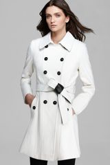 DKNY Coat Double Breasted Trench with Pleather - Lyst