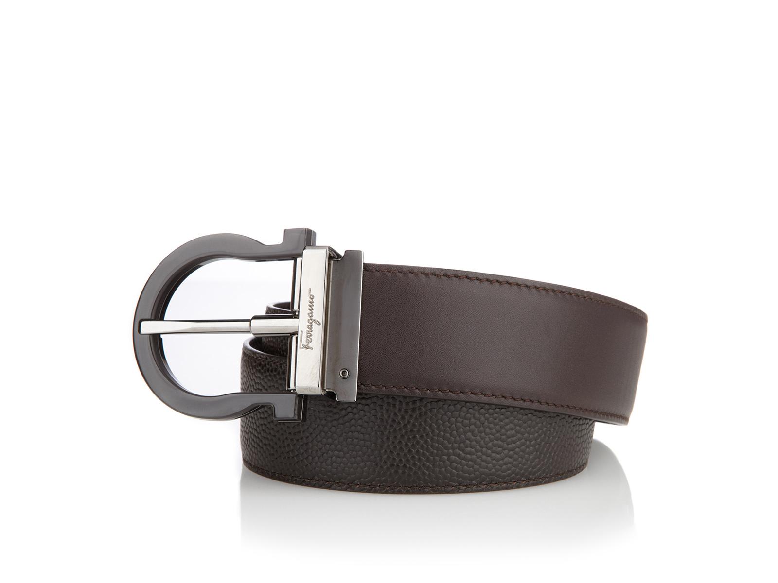 ferragamo reversible and adjustable belt in brown for