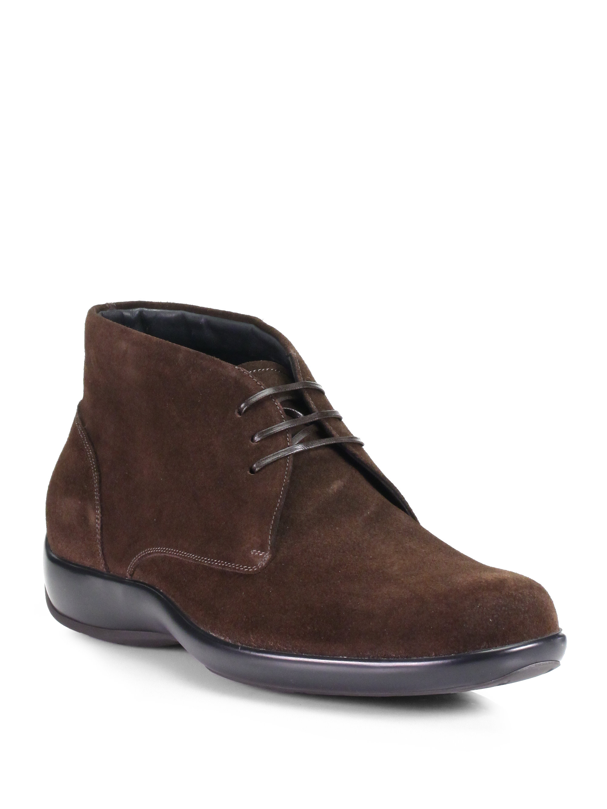 ferragamo studio suede chukka boots in brown for new