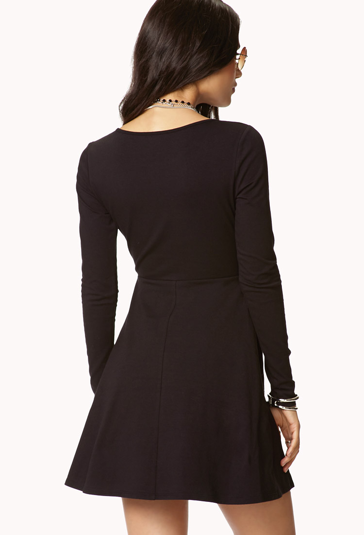 Lyst Forever 21 Casual Fit Amp Flare Dress In Black