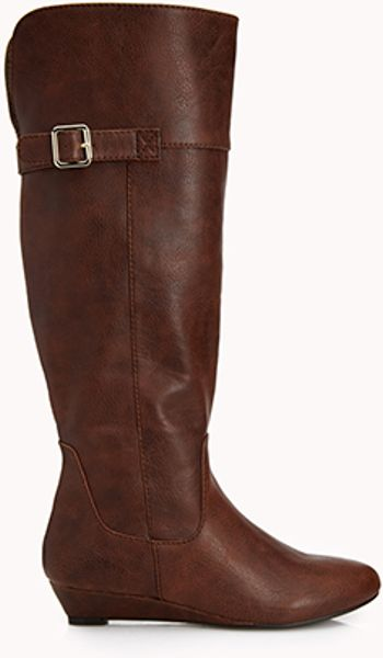 forever 21 citychic wedge boots in brown light brown lyst