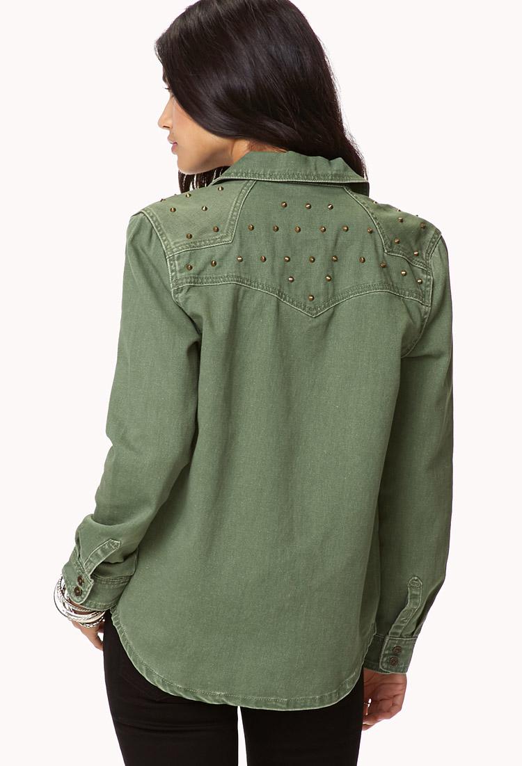 0bfdd59ec2 Lyst - Forever 21 Studded Denim Shirt in Green