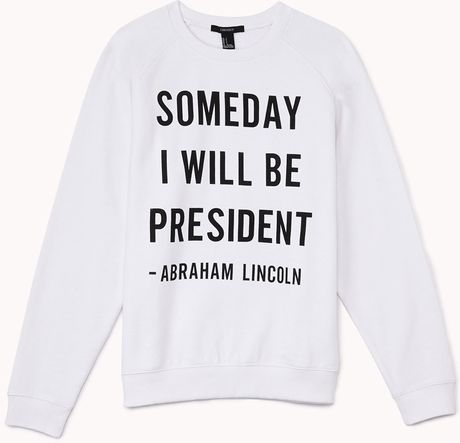 Forever 21 Abraham Lincoln Quote Pullover in Black (White/black)