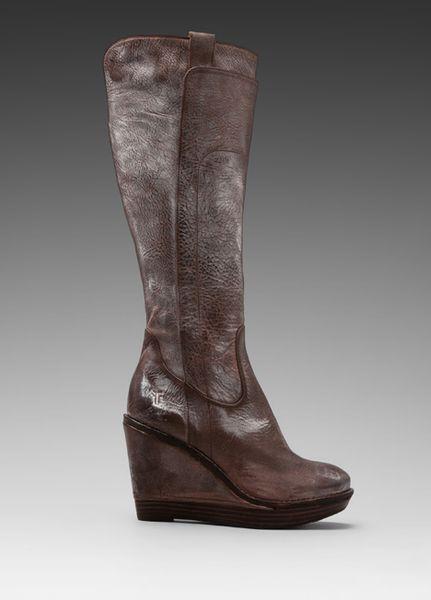 frye wedge boot in brown in brown brown lyst