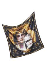 Givenchy Black and Gold Madonna Print Twill Silk Square Scarf - Lyst