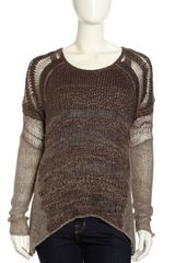 Helmut Lang Textured Gauzy Knit Scoopneck Sweater Brown - Lyst