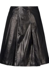 Jil Sander Navy Leather Skirt - Lyst