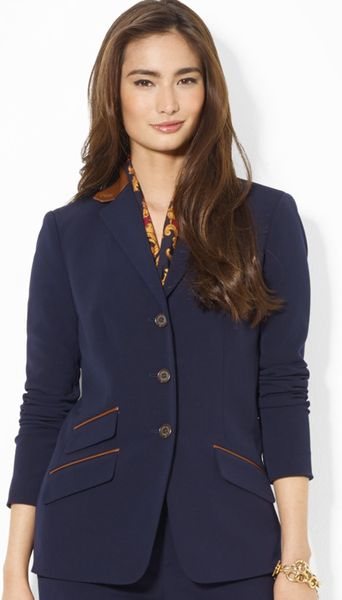 Ralph Lauren Hacking Jacket With Leather Trim In Blue