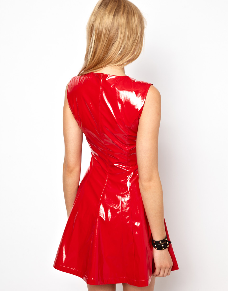 Lyst Asos Patent Skater Dress In Red