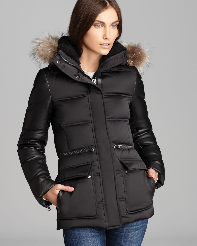 Mackage Down Coat Alysha Satin Leather Sleeves In Black Lyst