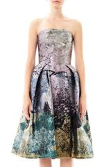 Mary Katrantzou Nevis Dijon Treeprint Strapless Dress - Lyst