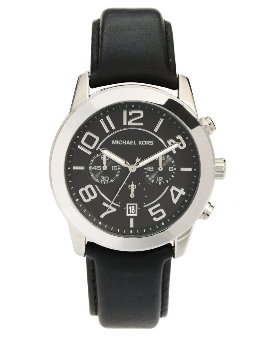 michael kors black leather watches best watchess 2017 michael kors watch mercer black leather strap in for men lyst