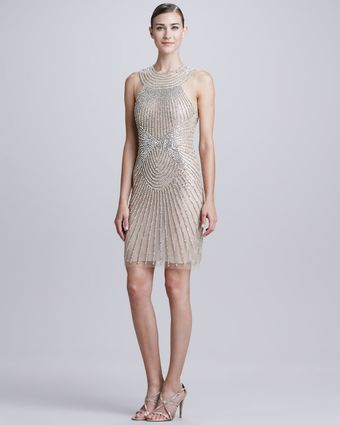 Naeem Khan Highneck Raybeaded Cocktail Dress - Lyst