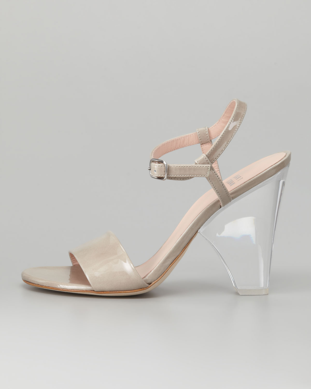 Lyst - Stuart Weitzman Lucite-heel Leather Sandal in Natural