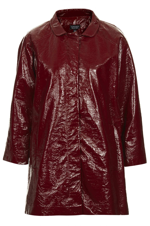 Topshop Vinyl Coat In Red Lyst