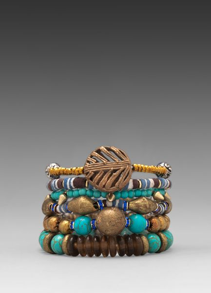 Vanessa Mooney Misty Mountain Bracelet Stack in Turquoise in Blue (Brass Multi)