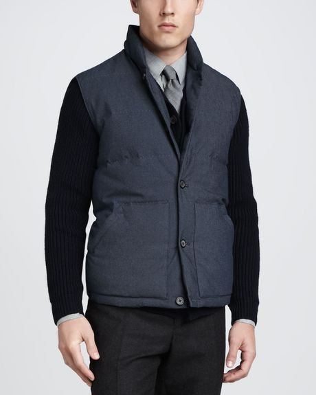 Vince Down Quilted Puffer Vest In Blue For Men Navy Lyst