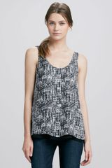Vince Doublelayer Printed Silk Tank Blackwhite - Lyst