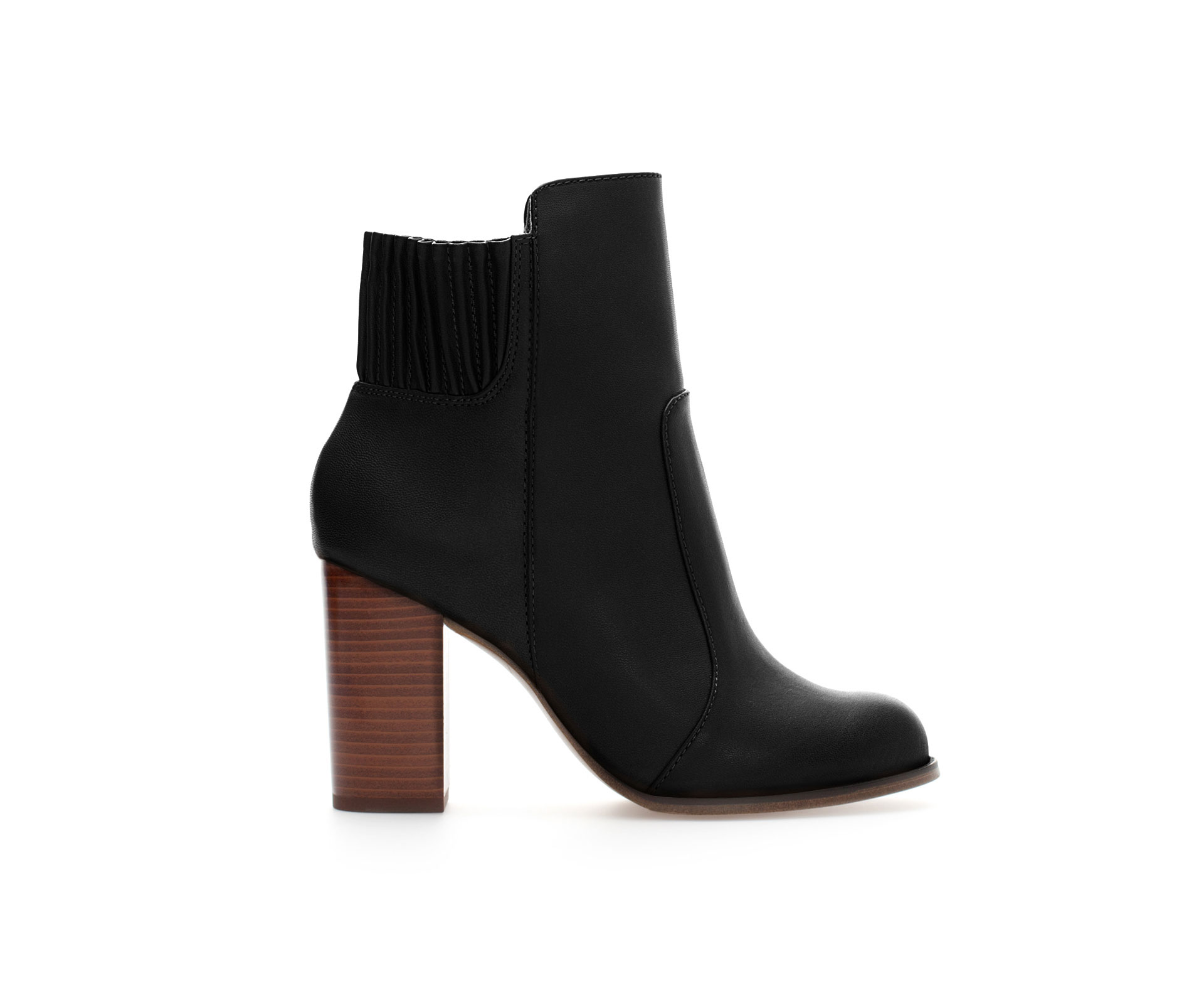 Zara Black Heel Ankle Boot with Elastic Closure in Black | Lyst