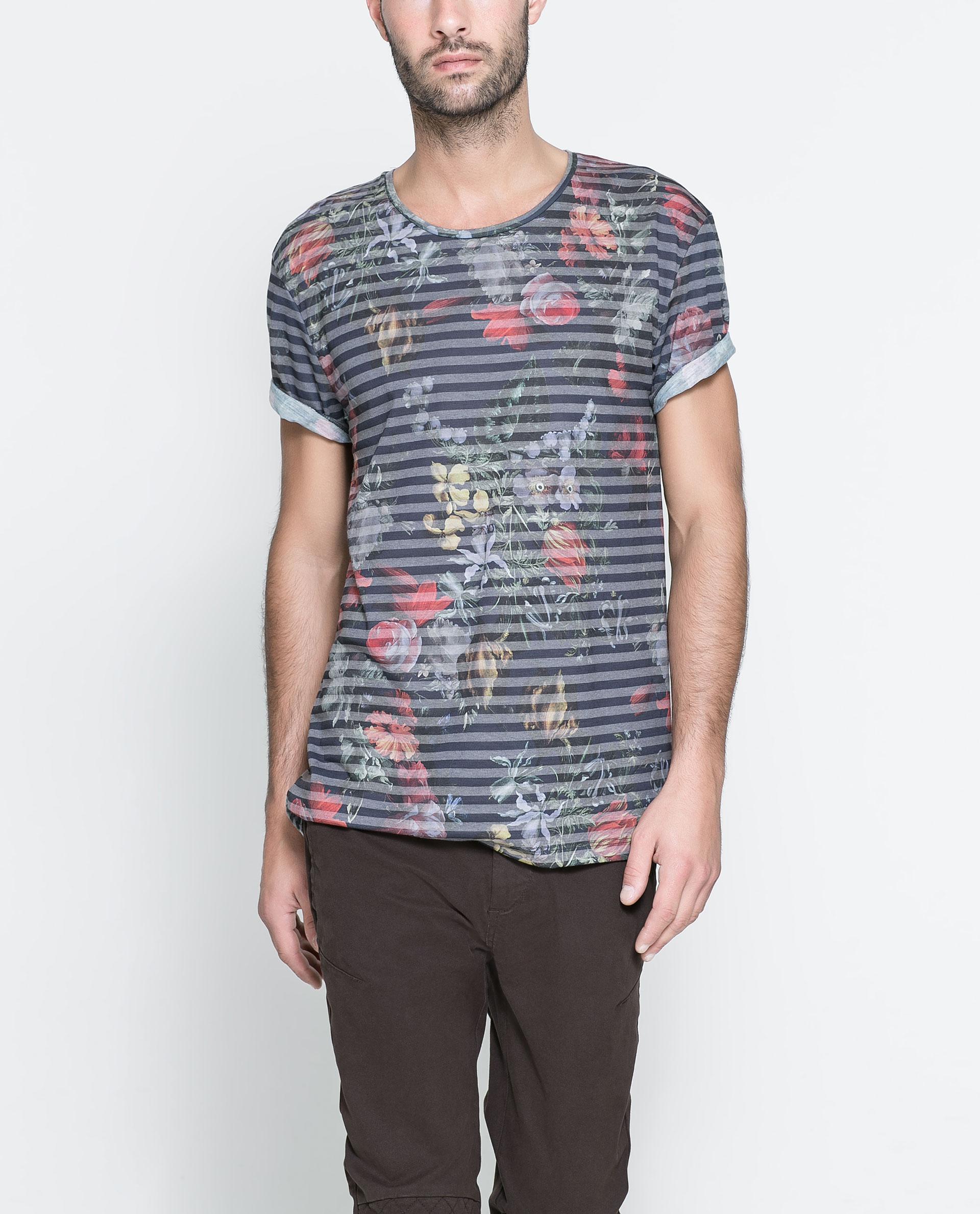 Zara short sleeve t shirt in floral for men dark blue for Zara mens floral shirt