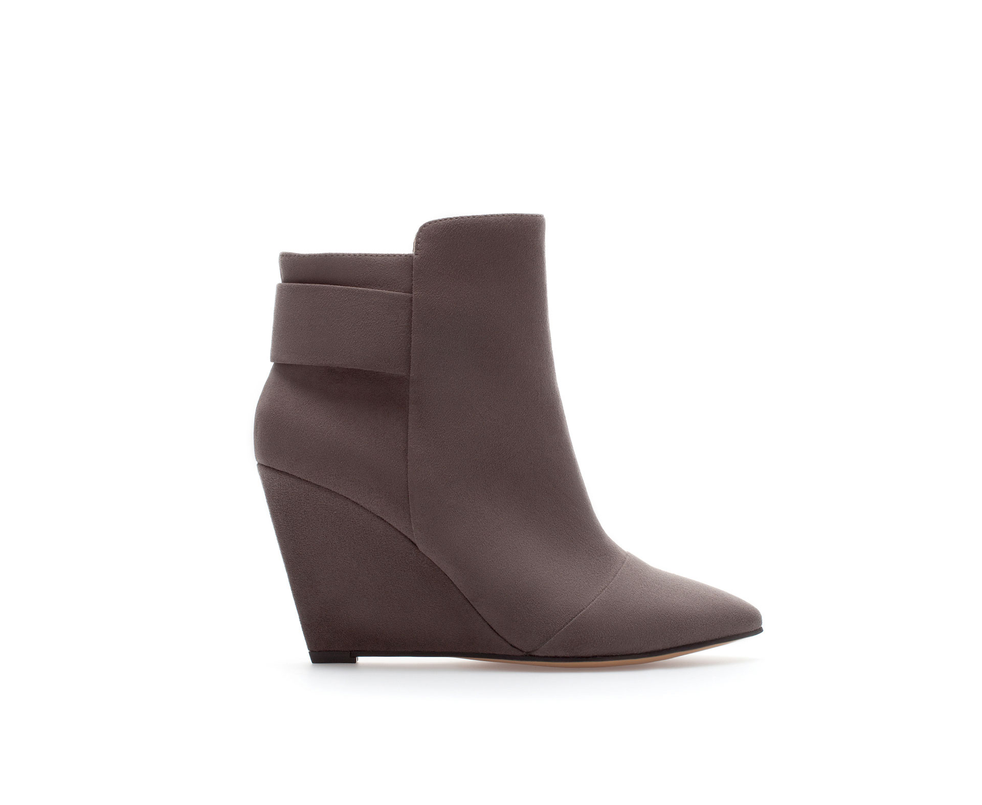 zara wedge ankle boot in gray grey lyst