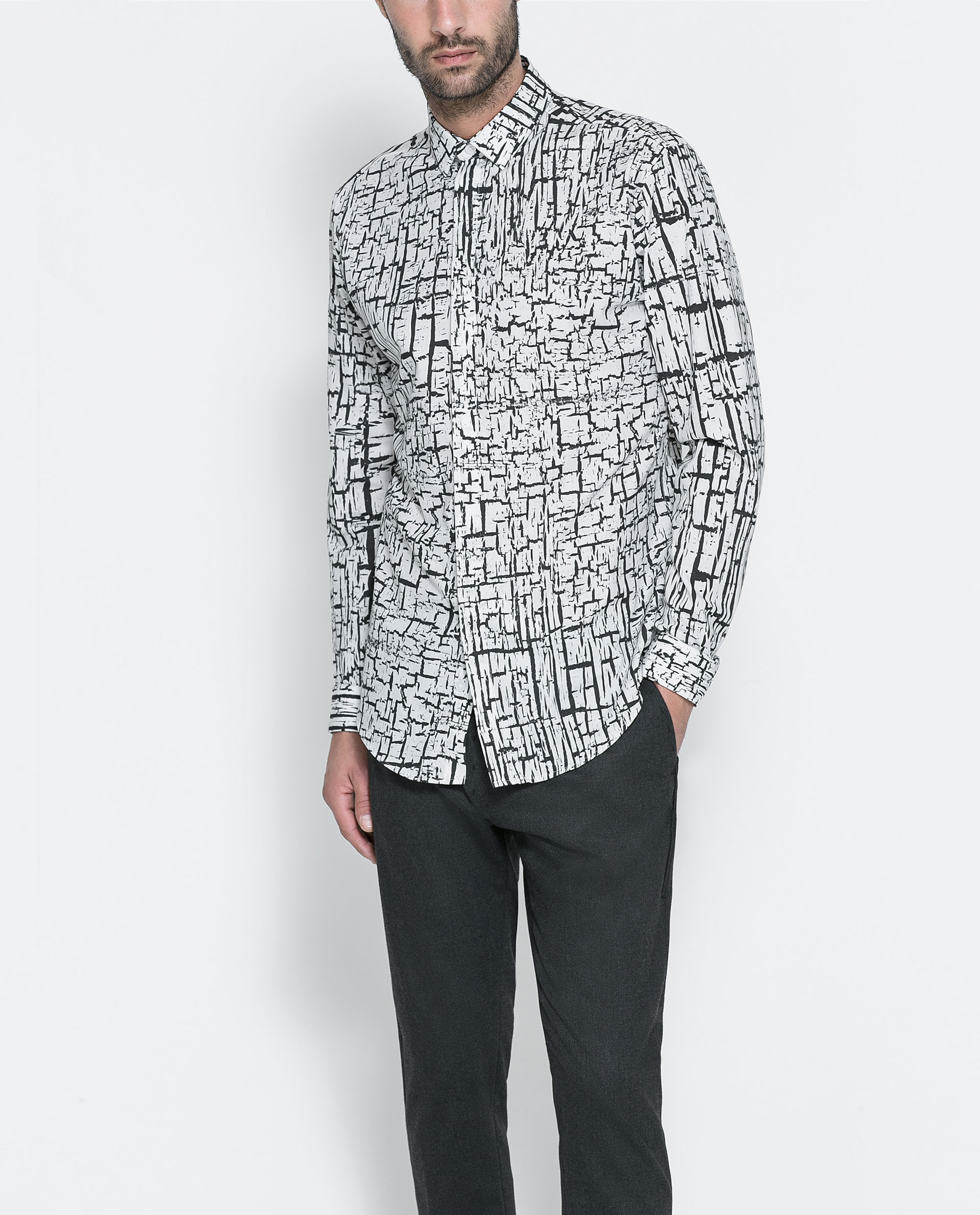 Zara photo concept printed shirt in white for men lyst for Zara mens shirts sale
