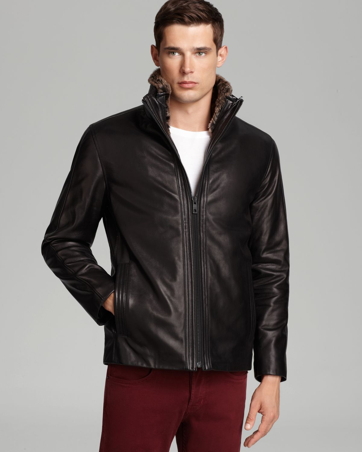 Mens jacket lined with fur - Andrew Marc Sawyer Leather Jacket With Fur Vest In Black For Men