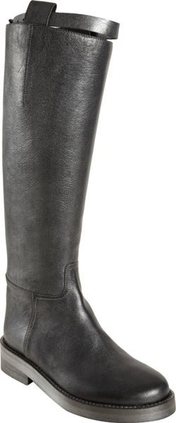 Ann Demeulemeester Top Strap Riding Boot in Gray (pewter)