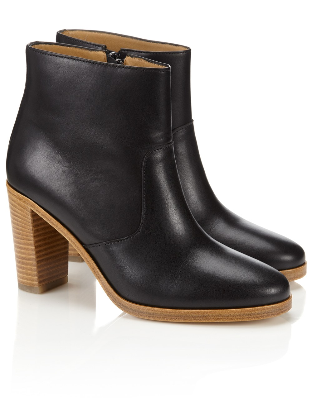 a p c black leather heeled boots in black lyst