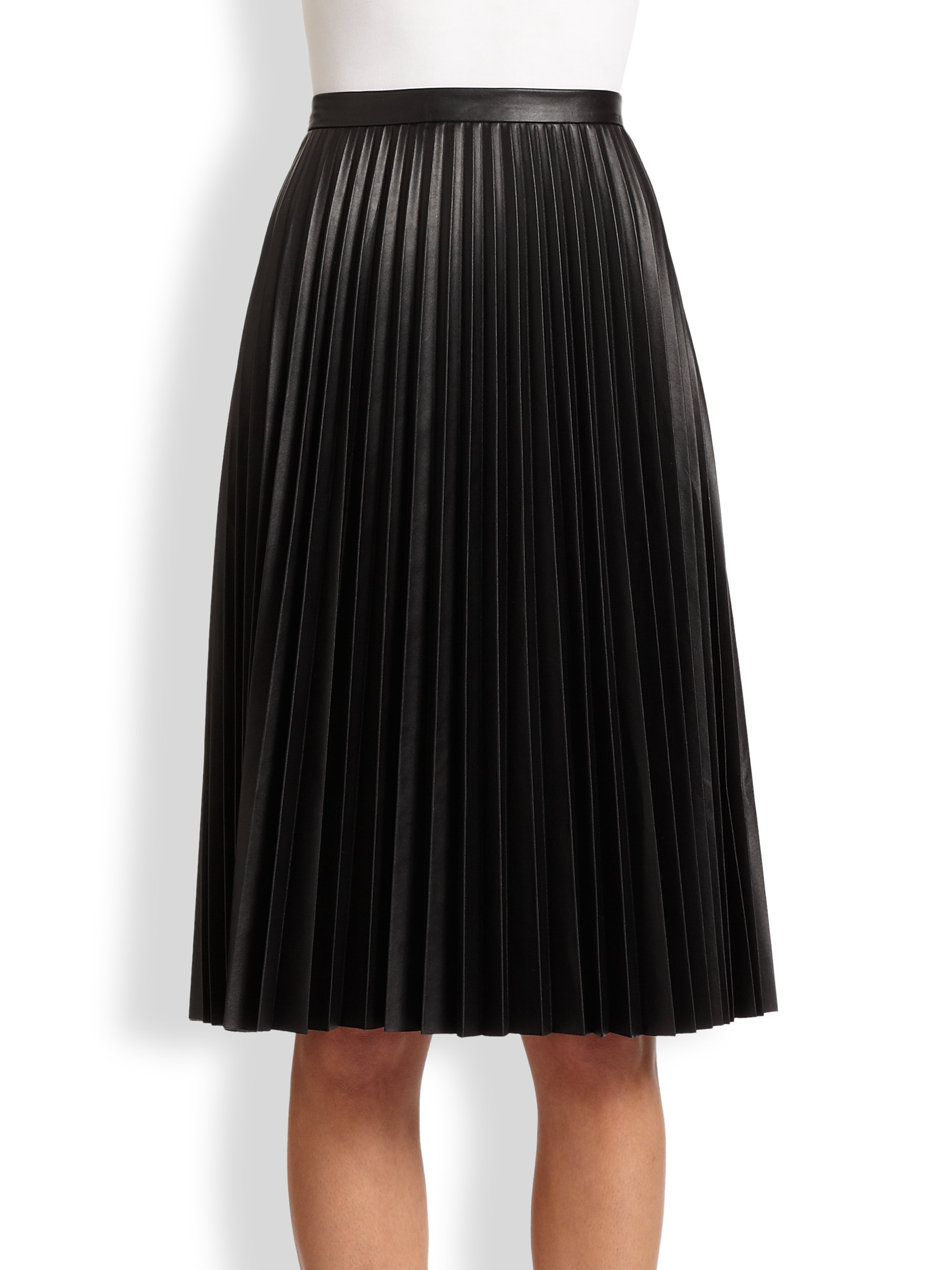 Bcbgmaxazria Elsa Faux Leather Pleated Skirt in Black | Lyst