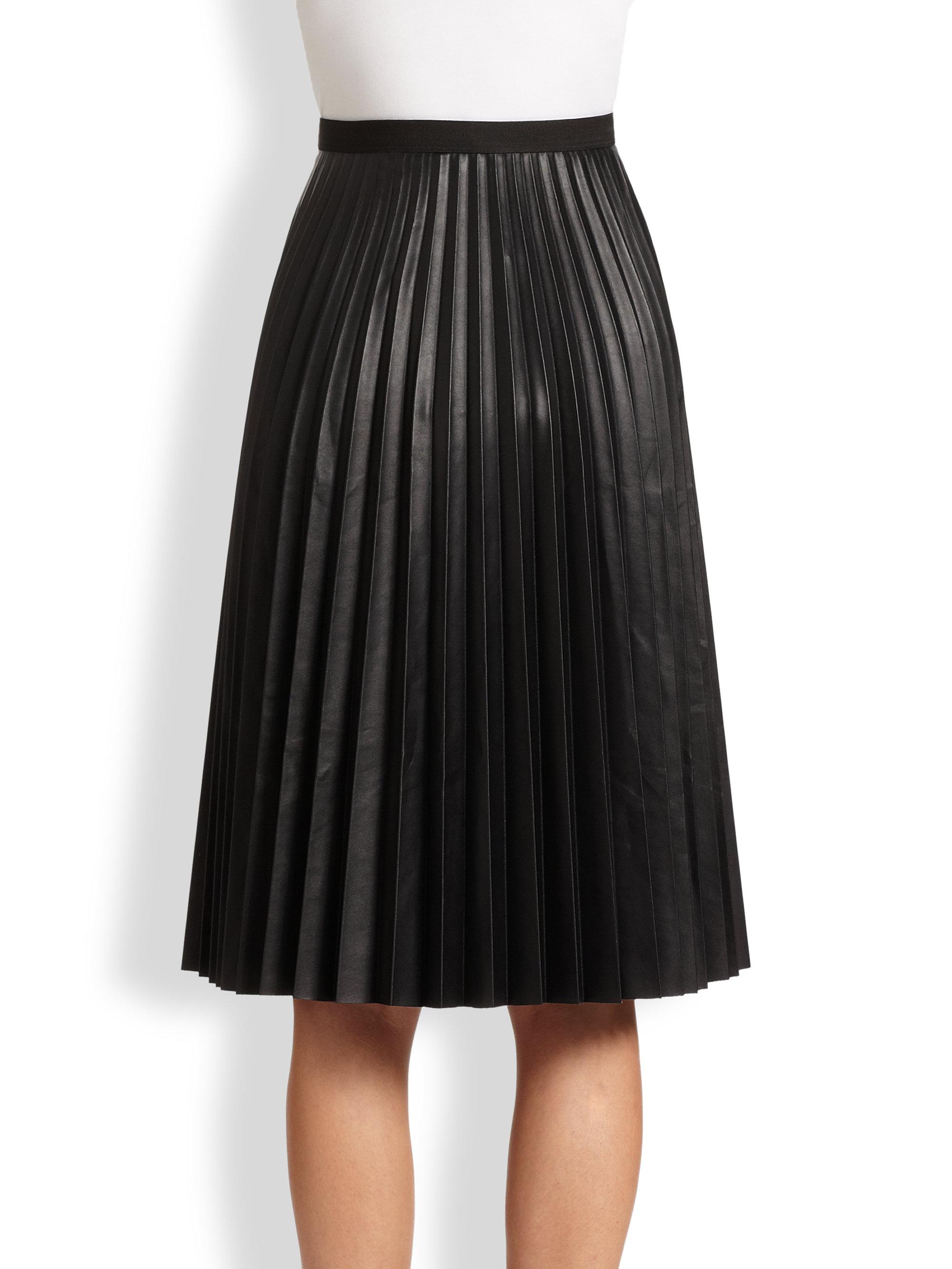 85c28a7973 BCBGMAXAZRIA Elsa Faux Leather Pleated Skirt in Black - Lyst