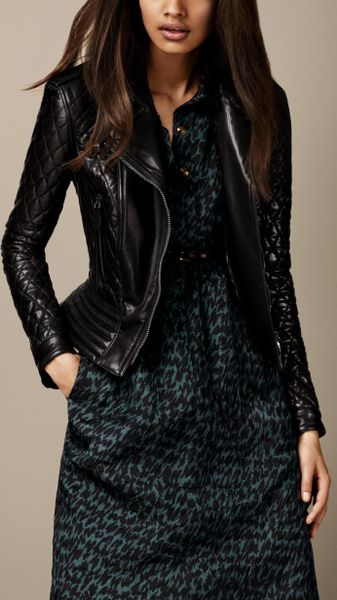 Burberry Quilted Leather Peplum Biker Jacket In Black Lyst